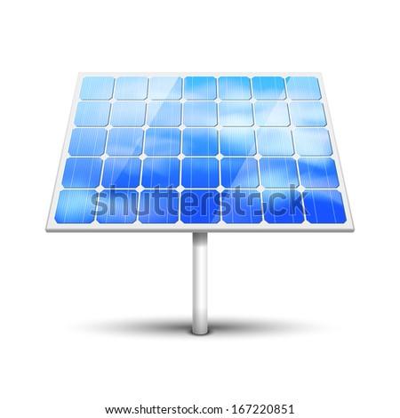 Solar panel illustration isolated on white - stock photo