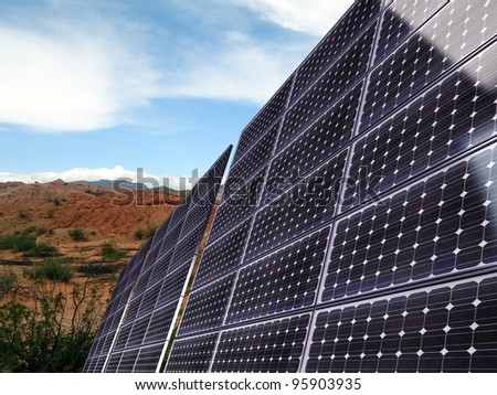 solar panel in desert zone - stock photo