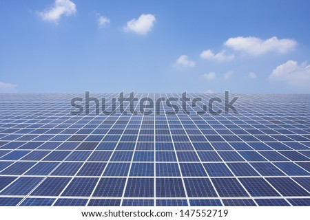 Solar panel in front of a blue sky - stock photo