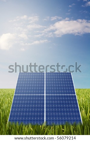 solar panel in grass field with sunny background - stock photo