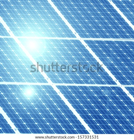 solar panel in the colours blue and white - stock photo