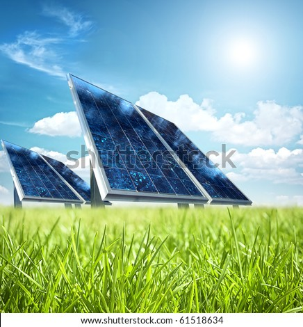 Solar panel in the green - stock photo