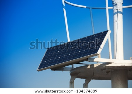 Solar panel installed on the roof with sky on background