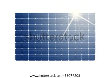 solar panel isolated on white background - stock photo