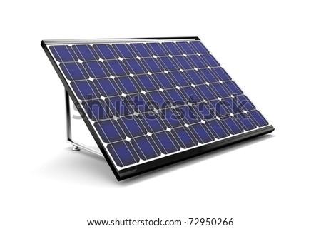 Solar panel isolated on white background. 3d image. - stock photo