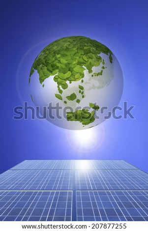 Solar Panel,Leaf And Globe - stock photo
