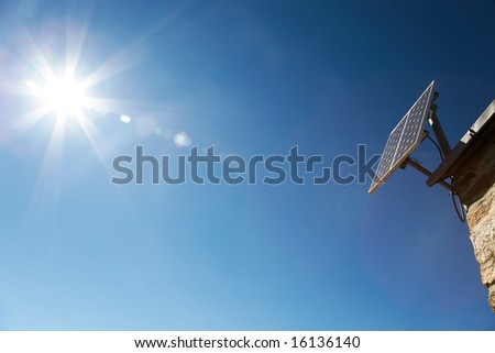 Solar Panel: new alternative energies, solution to global warming - stock photo