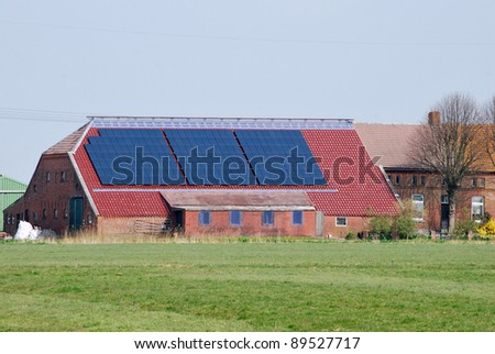 Solar panel on  a agricultural building - stock photo
