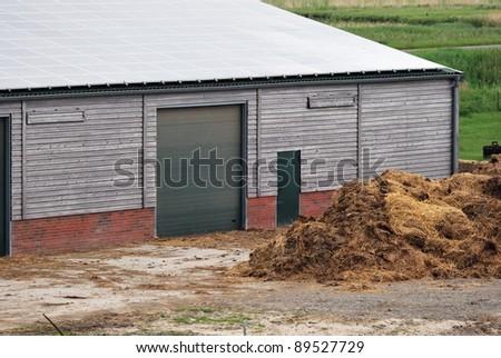 Solar panel on a barn - stock photo