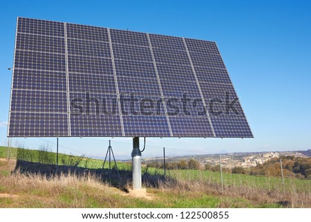Solar Panel on a field - stock photo