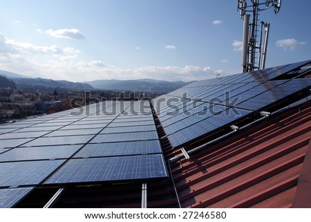 solar panel on a roof - stock photo