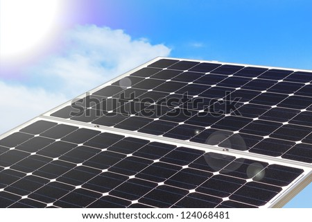 Solar Panel on a sunny day - lens flare effect