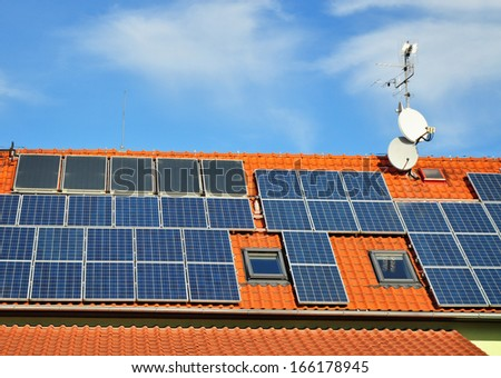 Solar panel on roof, sun energy