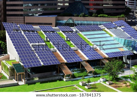 Solar panel on roof top - stock photo