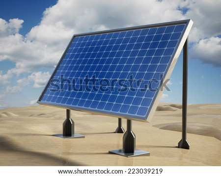 Solar panel on the desert sands. - stock photo