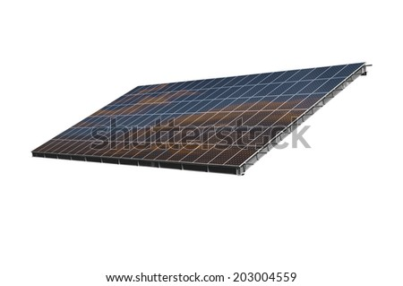 Solar panel path isolated on white background with sky reflection.