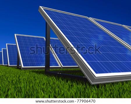 Solar panel. Photovoltaic energy. Green energy from sun. - stock photo