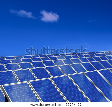 Solar panel. Photovoltaic energy. Green energy from sun. - stock photo
