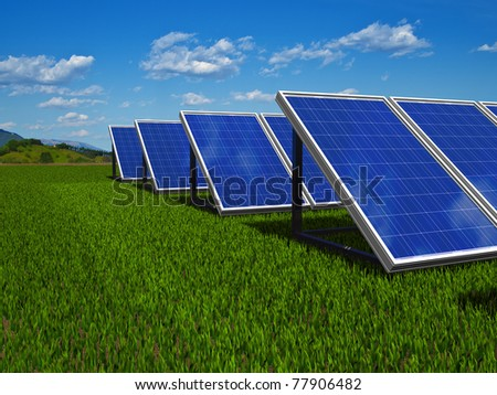 Solar panel. Photovoltaic energy. Green energy from sun.