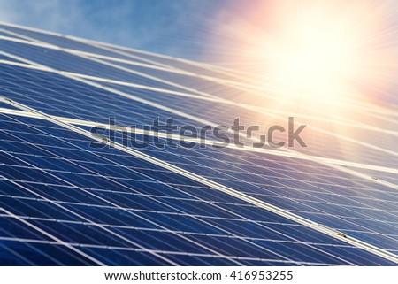 Solar panel,  photovoltaic - selective focus, copy space - stock photo