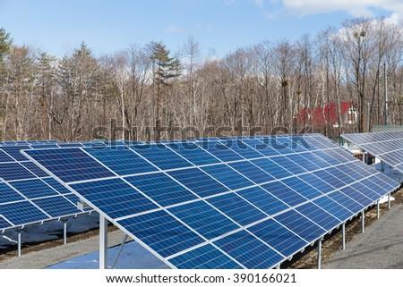 Solar panel plant - stock photo