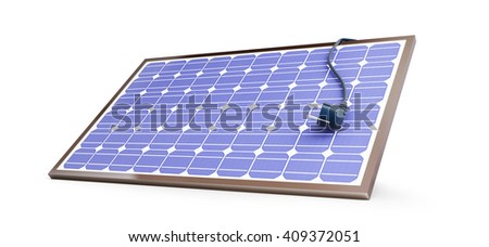 solar panel power plug on a white background. 3D illustration