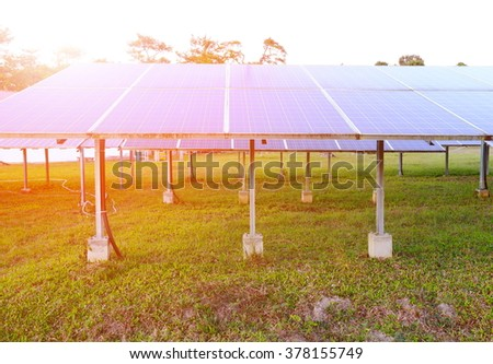Solar panel ,produces renewable energy,friendly energy from the sun. - stock photo