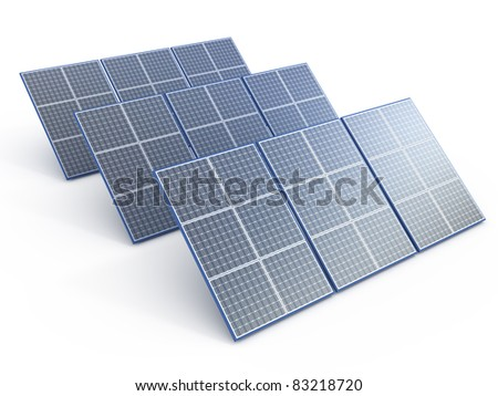 Solar Panel. Renewable energy concept on white - stock photo