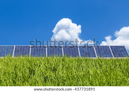 solar panel renewable energy from nature with blue sky  - stock photo