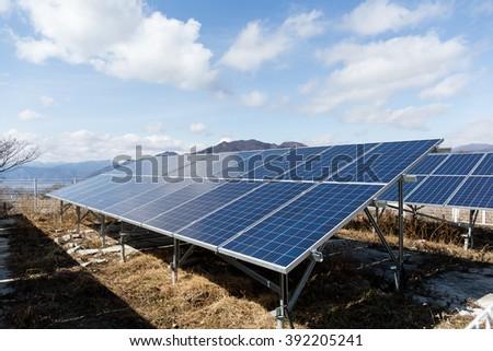 Solar panel station - stock photo