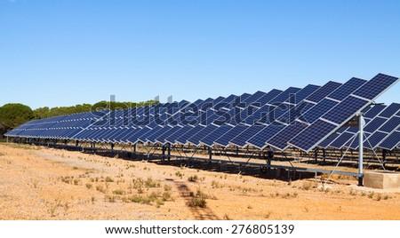 solar panel system at spanish desert  - stock photo