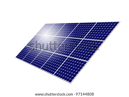 Solar Panel System with sun reflection isolated on white background