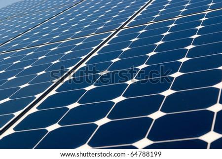 Solar panel technology background, sun energy, green power - stock photo