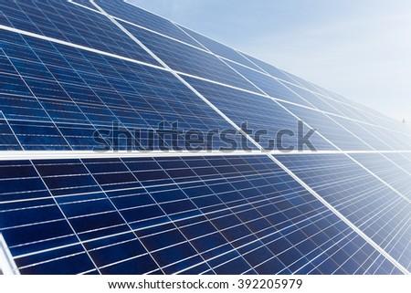 Solar panel uner blue sky - stock photo