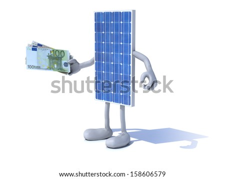 solar panel with arms and legs and euro notes on hand - stock photo