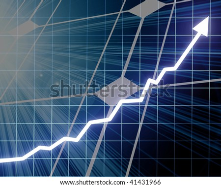 solar panel with arrow graph going up on it - stock photo
