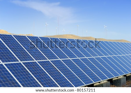 solar panel with desert house - stock photo