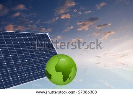 solar panel with green earth against nice cloudy sky - green energy concept