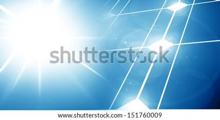 Solar panel with intense lighting of the sun on it - stock photo