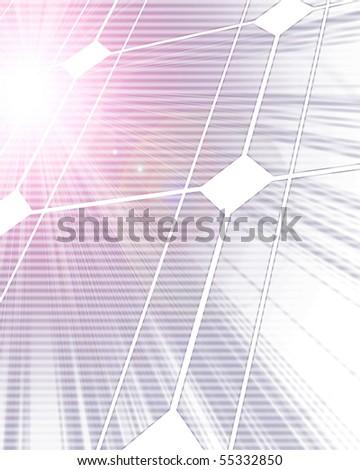 Solar panel with intense lighting on it - stock photo