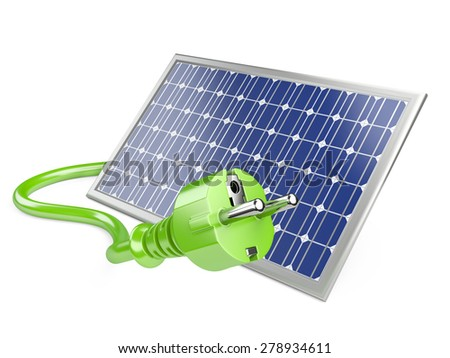 Solar panel with plug, green energy concept. 3d illustration - stock photo