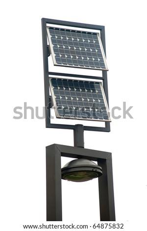 Solar panel with public lighting - stock photo