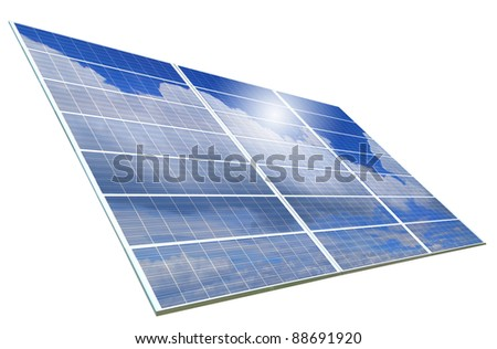 Solar Panel with reflection of blue sky ,white cloud and sun - stock photo