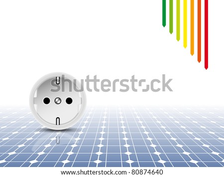 Solar panel with socket, outlet - green power concept - photovoltaic technology - energy efficiency rating - abstract eco design background - stock photo