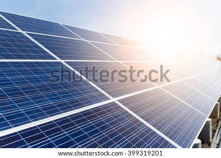 Solar panel with sunlight - stock photo