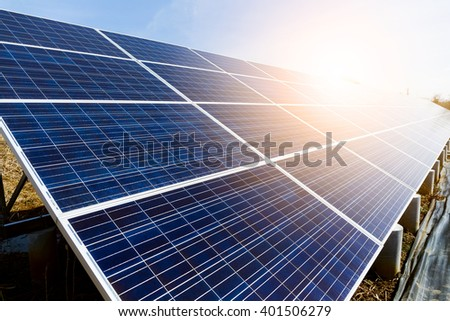 Solar panel with sunset