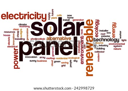 Solar panel word cloud concept with power energy related tags - stock photo