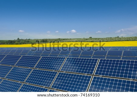 Solar panels against a rapeseed field - stock photo