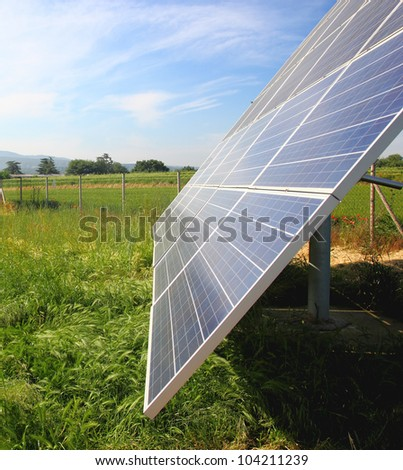 Solar panels against blue sky. - stock photo