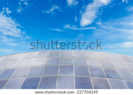 Solar panels against blue sky background,useful for carbon credits concept. - stock photo